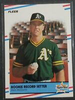 1988 Fleer #629 Mark McGwire A's Rookie Record Setter Mint Condition!