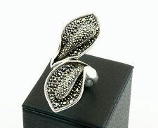 Anello fiore calla con Marcassite in argento 925 rodiato Made in Italy
