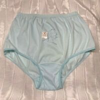 Vintage Pink Petals Aqua Poly/Cotton Panties w/Embroidered Front. Size 9