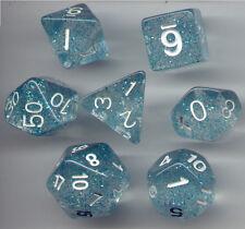 RPG Dice Set of 7 - Glitter Aqua D4 D6 D8 D10 D12 D20 D00-90