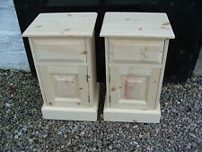 Pair of Raw Wood Solid Pine 1 Door 1 Drawer Bedside Pot Cupboards - UK MADE