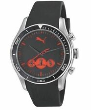NEW PUMA PU102581001 Men's Ride Large Chronograph Black and Red Quartz Watch 50M