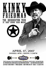 "KINKY FRIEDMAN ""THE RESURRECTED TOUR"" 2017 NEW YORK CONCERT POSTER-Country Music"