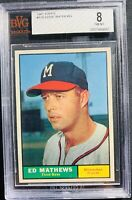1961 Topps Eddie Mathews Milwaukee Braves #120 Bvg 8 Psa Regrad?