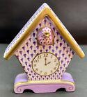 🦋 MINT Rare HEREND Cuckoo Clock Lilac Lavender Raspberry Fishnet Figurine