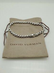 """David Yurman Men's Lobster 5mm Large Lock Bracelet Sterling Silver Box Chain 9"""""""
