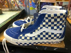 Vans Sk8-Hi 38 DX Anaheim Factory OG Blue Checkerboard Suede  Size US 13 Men New