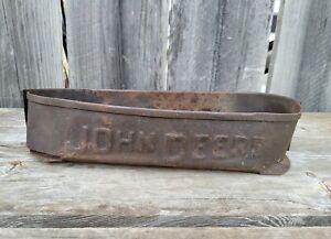 Antique Vintage John Deere Embossed Tool Box Implement Part