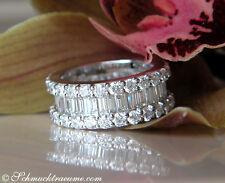 Nobel: Brillanten Memoryring mit Baguette Diamanten, 5,73 ct. TW-VS WG750 19.200