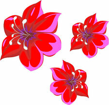 Red and Pink flower stickers, car, wall art, laptop