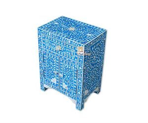 Mother of pearl bedside table floral 1 drawer 2 door blue color with insurance