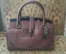 New COACH Mercer Satchel 24  Hologram Dark Bronze Grain Leather 37779