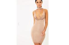 Pretty Little Thing Jesime Nude Slinky Cowl Neck Dress UK 8 Lf083 FF 12
