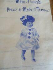 T12 PATRON POUPEE M.FRANCOISE  MODES & TRAVAUX COSTUME DE PIERRETTE  1976