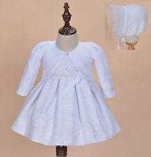 Cinda bambina pizzo bianco battesimo vestitino con cuffia e bolero 0-3 mesi
