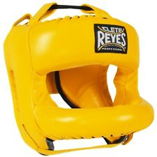 Cleto Reyes Redesigned Leather Boxing Headgear with Nylon Face Bar - Yellow