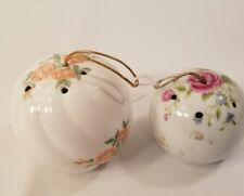 Vintage Round Pomanders Lot of two, Pink and Purple Floral  LOT 5