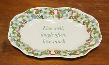 "Spode HOLIDAYS SENTIMENTS LIVE LAUGH LOVE Candy Dish, 6 1/2"", Excellent"