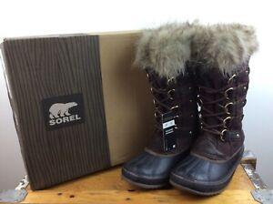 SOREL LADIES JOAN OF ARCTIC DARK BROWN FUR SNOW BOOTS LACE MANY SIZES RRP £180 C