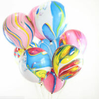 30/1 RAINBOW PARTY BALLOONS FUNKY COLOURED MARBLE EFFECT DECORATION BIRTHDAY