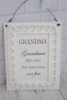 Wall Plaque Grandma's Like you Are Precious & Few Wooden Sign White 27cm F1508D