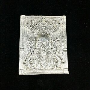 Hand Poured .999 Fine Silver 2.65ozt Gothic Skull Plaque Bar Victorian Art Deco