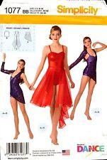 Simplicity Sewing Pattern 1077 Girls/Misses Knit Dancewear 6-16 NEW