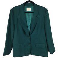 Vintage Pendleton Women's Size 14 Blazer Jacket Forest Green 100% Wool 2 Button