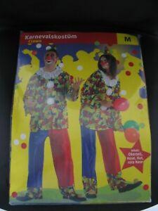 Clown   Kostüm.  Gr. M für Erwachsene, 4-teilig
