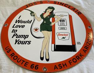 VINTAGE SINCLAIR GASOLINE PORCELAIN SIGN GAS STATION PUMP PLATE MOTOR OIL TEXACO