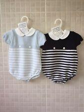 PEX Spanish style baby Boy knitted romper blue Navy Newborn 0-3 3-6 6-9 months