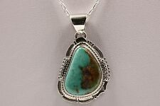 Signed Navajo Made Sterling Silver Sierra Nevada Turquoise Necklace / Pendant
