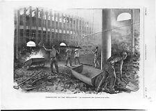 Usine Fabrication Gaz d'Eclairage Chargement Cornues à la Cuiller GRAVURE 1902