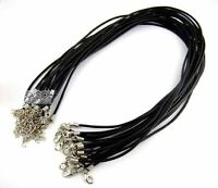 "Rockin Beads 20 Leather Cord Necklaces Black 17"" Lobster Claw Clasp Extension"