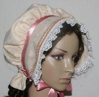 Ladies Victorian American Civil War Cream & pink  BONNET costume fancy dress