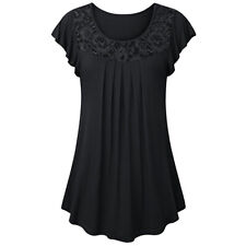 Women Lace Solid Short Swing Sleeve Crew Neck Tunic Tops Blouse Loose T-Shirt