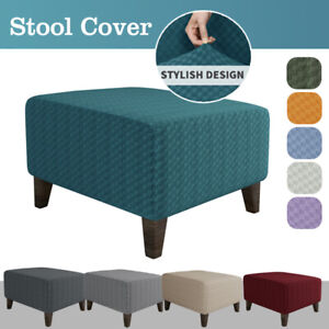 Stretch Square Ottoman Slipcovers Elastic Footstool Sofa Protector Stool Cover