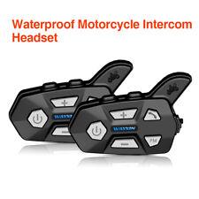 2PCS Up To 1000M Motorcycle Helmet Bluetooth Intercom Headset FM Radio Fr Riders