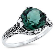 Antique Design Silver Ring Sz 5, #756 2.5 Ct Sim Emerald Engagement 925 Sterling