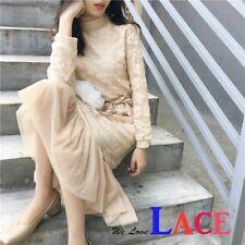 Women Korean Style Sexy Lace Long Sleeve Dress #101