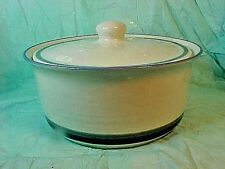 Pfaltzgraff 2 Qt Ceramic Casserole Dish & Lid Blue Green Bands/STRIPED & CREAM