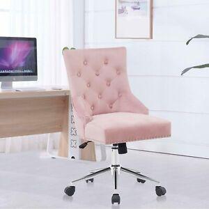 Velvet Tufted Home Office Chair Swivel Armless Computer Task Desk Chair Mid Back