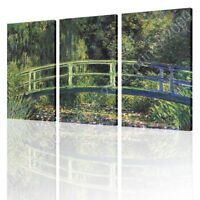 Water Lily Pond by Claude Monet | Ready to hang canvas | 3 Panels Wall art HD