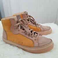 CLARKS Cushion Plus Beige Mustard Ankle Boots Hi-Top Laceup Shoe UK 6.5 EUR 40 D