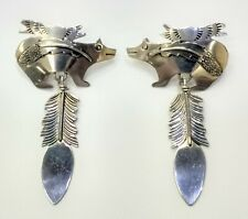 Delightful Sterling Silver Native Bear And Feather Earrings 925