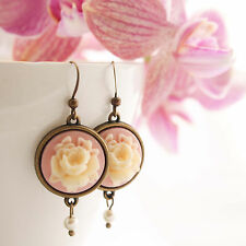 Pink Cameo Rose Earrings - Regency Lolita Swarovski Pearl Vintage Flower Drop