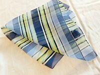 "Woman's Scarf Neckerchief 17"" Stripped Navy Green Yellow White Blue Sheer"