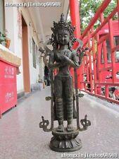 """28""""Tibet Buddhism Bronze Stand White TaRa Kwan-Yin Bodhisattva Buddha Statue"""