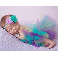 NEW Head Flower+Rainbow Skirt Newborn Baby Girl Costume Photography Prop Outfits
