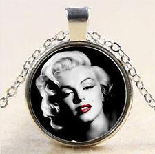 Vintage Marilyn Monroe Cabochon Tibetan silver Glass Chain Pendant Necklace #748